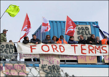 Workers occupied Visteon Enfield, photo Paul Mattsson