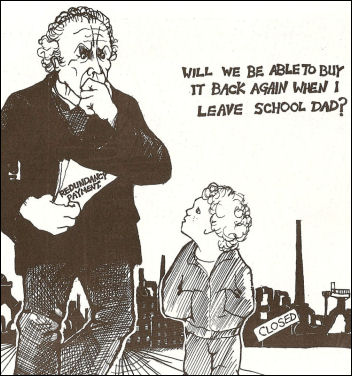 Redundancy haunted the working class then as now. Cartoon by Alan Hardman