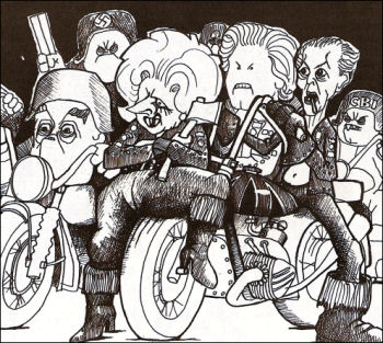 Thatcher and her Hells Angels gang, cartoon by Alan Hardman