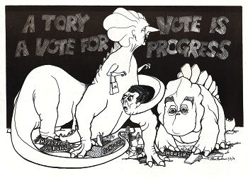 Thatcher dinosaurs proposed savage attacks on the living standards of working people. cartoon by Alan Hardman