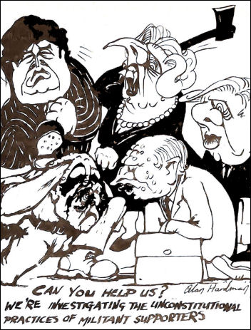 Kinnock connived to destroy Militant, cartoon by Alan Hardman