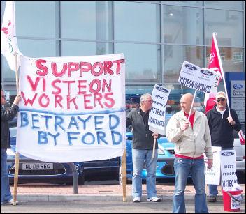 Basildon sacked Visteon car workers demonstrate, photo Neil Cafferkey