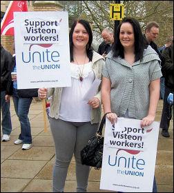 Basildon sacked Visteon car workers demonstrate, photo Matt Dobson