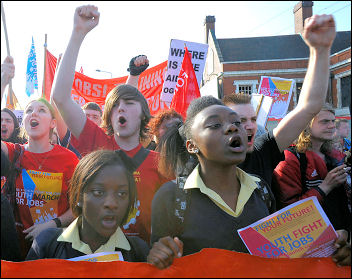 Youth Fight For Jobs demonstration, photo Paul Mattsson