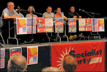 London Socialist Party meeting April 2009 with convenors from Visteon Basildon and Enfield, Rob Williams and Brian Denny, photo Paul Mattsson