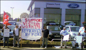 Taking the protest to the Ford showrooms in Rayleigh, photo by Neil Cafferky