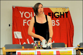 Leah Jones at Youth Fight for Jobs conference 2009, photo Paul Mattsson