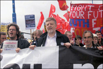 Socialist Party councillor Dave Nellist on the Unite Jobs demo , photo Harry Smith