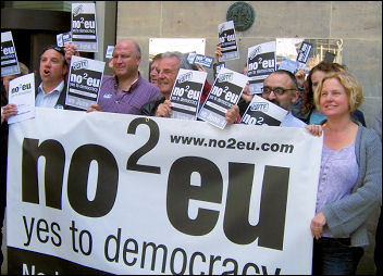 Bob Crow and other No2EU candidates and supporters launch their manifesto, photo D Carr