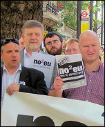 No2EU candidates Dave Nellist (2nd left) and Bob Crow (right) with supporters launch the No2EU manifesto, photo D Carr