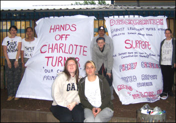 Parents temporarily occupied Charlotte Turner school in Greenwich, photo C Newby