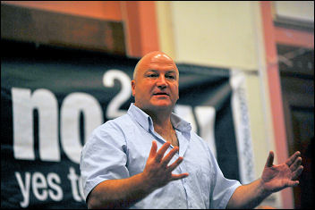 Bob Crow, RMT general secretary, speaking at the London No2EU election rally, photo Paul Mattsson