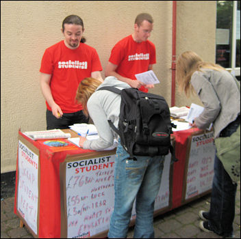 Campaigning at Aston University, photo Socialist Students