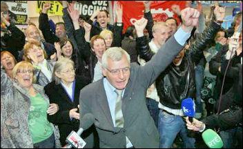 Joe Higgins wins his European Parliament seat in Dublin, photo by Socialist Party, Ireland
