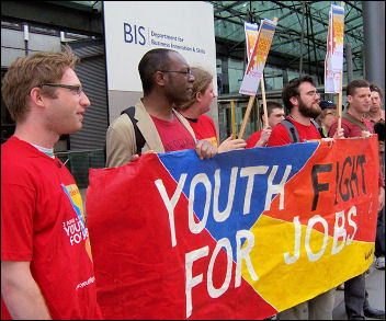 Youth Fight for Jobs protest outside Mandelson