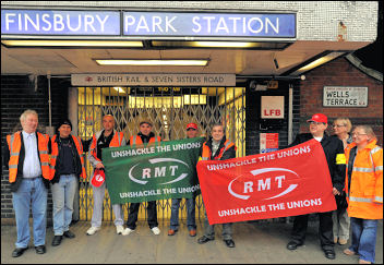 London Underground strike of RMT tube workers, photo Paul Mattsson