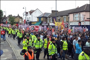 Anti-EDL demonstration in Walthamstow 1 September 2012 was 20 times the size of the EDL march, photo P Mason