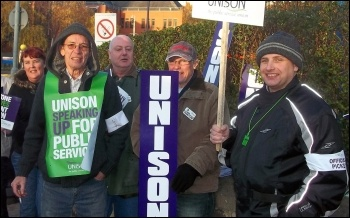 Unison members join the 30 November N30 public sector strike in Leeds , photo Iain Dalton