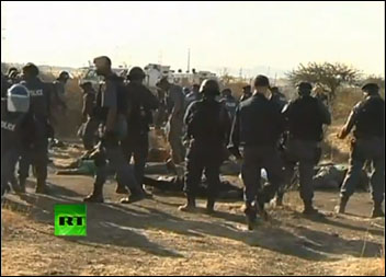 Police open fire on South African miners, dozens killed , RT video still