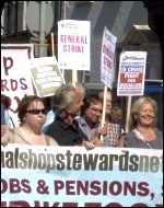 NSSN lobby of TUC 2012 congress calling for a 24-hour general strike, photo  Socialist Party