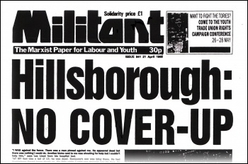 Militant newspaper (forerunner of The Socialist) 21 April 1989 issue 941, on the Hillsborough disaster