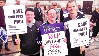 Sam, Alan & Wayne protesting to save Oaklands Pool, photo by Southampton SP