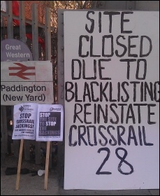 Sparks picketing Crossrail Paddington site, 17.9.12, photo by Neil Cafferky