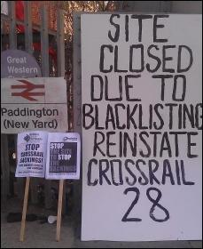 Sparks picket Crossrail Paddington site, 17.9.12, photo Neil Cafferky