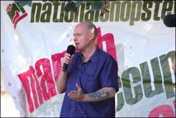 Steve Hedley, RMT assistant general secretary, at the NSSN lobby of the TUC 2012, photo Serena