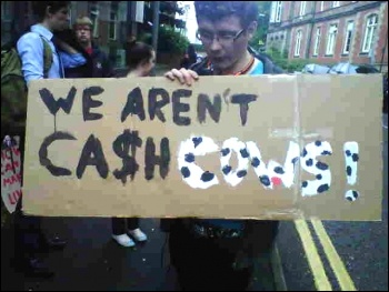 Students protesting in Nottinham against being treated as chas cows, 5.7.12 , photo by Becci Heagney