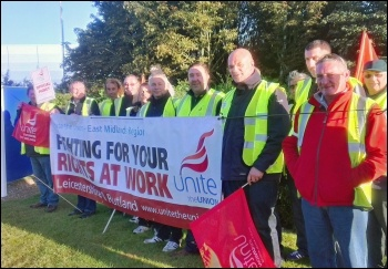 Argos striking workers on the picket line in Lutterworth, photo Steve Score