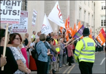 Waltham Forest protest, one of many protests outside Labour-run councils who pass Con-Dem austerity measures. , photo by Senan