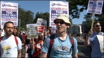 The NSSN lobbied the TUC Congress 2012 to use the TUC demo on 20 October as a springboard for a 24-hour general strike, photo Socialist Party