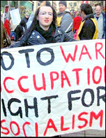 Lincoln Socialist Party protests against war and occupation, photo by Lincoln Socialist Party
