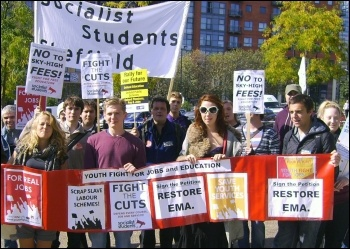 20 Sociaist students activists marched round Sheffield city centre against tuition fees and to restore EMA, joined by NUT rep, photo Sheffield Socialist Students