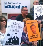 NUT protest outside the Department of Education by teachers and parents opposed to the GCSE regrading in August 2012 , photo Neil Cafferky