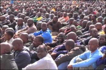 Striking mine workers in Marikana, 2012