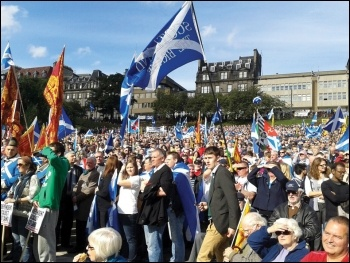Rallying for a yes vote in Edinburgh as thousands march for an independent Scotland, photo M Dobson