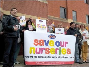 Leeds HMRC PCS workers protest proposals to close nurseries, photo by Iain Dalton