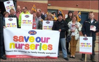 Leeds HMRC PCS workers protest against proposals to close nurseries, photo by Iain Dalton