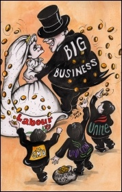 New Labour and Big Business: cover illustration of Socialism Today 162, photo Suz