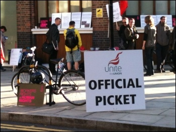 Unite members at Amnesty International take a second day of strike action, 10.10.12  , photo by Judy Beishon