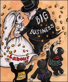 Labour marries big business on the funds of the trade unions, cartoon by Suz