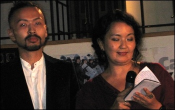 Zhainagul and Askar Aidarkhan, wife and son of Aron Atabek, read his poems at a concert organised by Campaign Kazakhstan, London 2 October 2012, photo Keith Dickinson