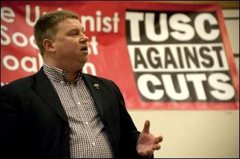 Alex Gordon, RMT president, addresses the London Trade Unionist and Socialist Coalition launch meeting 2012, photo Paul Mattsson
