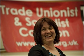 TUSC candidate Nancy Taaffe addresses the London Trade Unionist and Socialist Coalition (TUSC)  launch meeting 2012, photo Paul Mattsson