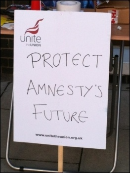 Unite banner at Amnesty International, photo Judy Beishon