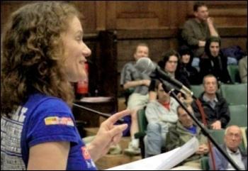 Hannah Sell, Socialist Party deputy general secretary, addresses the Socialism 2011 sunday rally, photo by Paul Mattsson