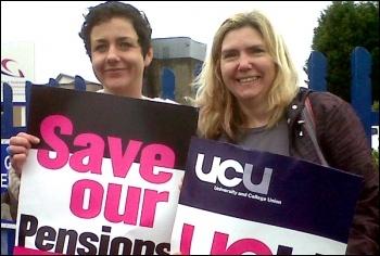 UCU strikers on a picket line in Swansea on 10 May 2012 public sector workers strike , photo Socialist Party Wales