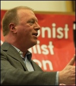 Matt Wrack, General Secretary, Fire Brigades Union (FBU) speaking at the London Trade Unionist and Socialist Coaltion (TUSC) meeting 2012 , photo Paul Mattsson